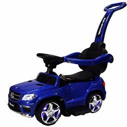 4-in-1 Mercedes GL63 Stroller Ride-On Toy Push Car - Blue