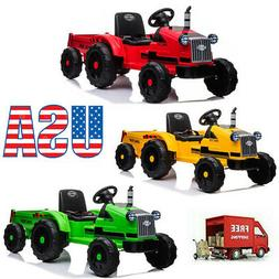 12V Battery Powered Toy Tractor w/Trailer Ground Loader Ride