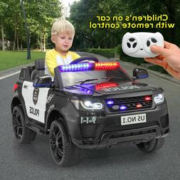 12V Electric Kids Police Ride On SUV Car Toys RC Car w/ 2 Sp