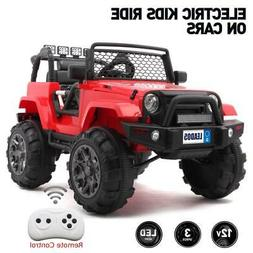 12V Electric Kids Ride on Car Toys Jeep Truck LED Music w/ R