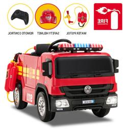 12V Fire Truck Ride on Toy Electric Kids Car 3 Speed w/ RC W