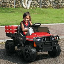 12V Kid Ride on Tractor Battery Powered Electric Truck w/ Tr