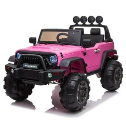 12V Pink Electric Kids Ride on Car Toys 3 Speeds MP3 LED Lig