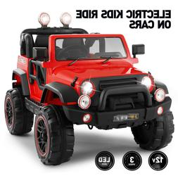 12V Red Electric Kids Ride on Car Truck Toys 3 Speeds MP3 LE