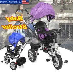 4 In 1 Baby Kids Reverse Toddler Tricycle Bike Trike Ride-On