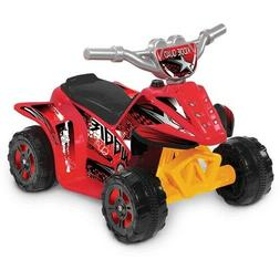 6V Kiddie Quad Battery-Powered Ride-On Toy Red Outdoor Play