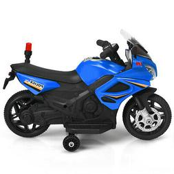 6V Kids Ride On Police Motorcycle 4-Wheel Electric Toy w/ Tr
