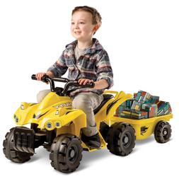 Huffy 6V Quad Trailer Ride on Toy for Kids, Yellow NEW