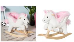 Qaba Baby Kid Toy Wooden Plush Rocking Horse Little Unicorn