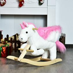 Qaba Baby Kid Toy Wooden Plush Rocking Horse Little Unicorn