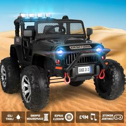 Black 12V Battery Kids Ride on Truck Car Toy Electric Jeep M
