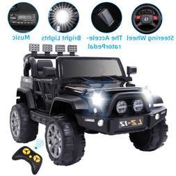Black 12V Kids Ride On Car Toys Truck w/Remote Control, 3 Sp
