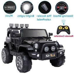 Black 12V Powered Kids Ride On Car Toy Jeep 3 Speeds 4 Wheel