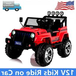Black Kids Ride On Jeep style Battery Powered Electric Car W