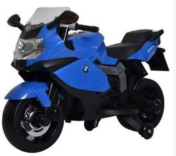 Motorized Cars For Kids-Blue BMW Motorcycle 12V Realistic Dr
