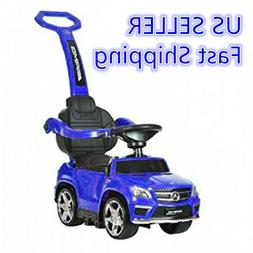 Blue Ride On Toy Push Car Stroller Mercedes Kids Child Toddl