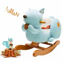 blue squirrel baby rocking horse kids ride