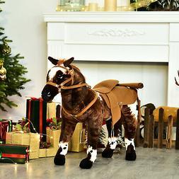 Qaba Children Cowboy Standing Plush Horse Soft Ride On Toy C