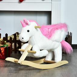 Cute Pink Plush Rocking Unicorn Kids Ride On Toy Seat Girls
