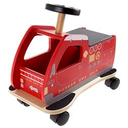 Happy Trails Ride On Fire Truck Toy Box with Steering Wheel,