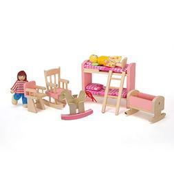 bromrefulgenc 6Pcs Doll Furniture House Playset, Wooden High