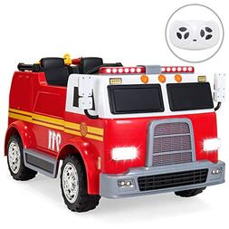 Best Choice Products 12V Kids Fire Engine Truck Ride On Toy