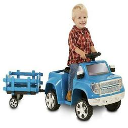Hauling Truck Trailer Toddler Ride On Toy Blue 6 Volt Speed