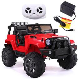 JAXPETY Jeep style Kids Ride on Truck 12V Battery Powered El