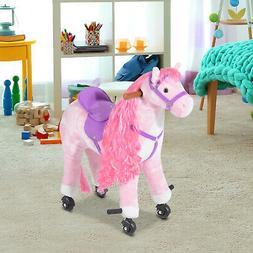 Qaba Kid Children Ride on Toy Walking Horse Plush Pony w/ Wh