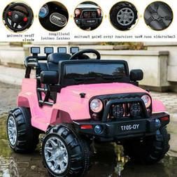 Pink Kids Ride On Electric Remote Control Car Jeep Indoor/ou
