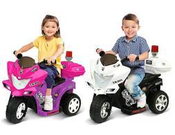 Kid's Ride On Trike Lil Patrol Toy Motorcycle 6V Age 2-4 Bla
