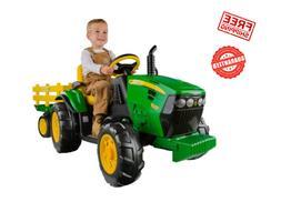 Kids 12V John Deere Ground Force Tractor Ride-On Toy Trailer