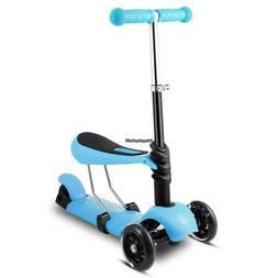 Kids 3-Wheel Kick Scooter Adjustable w/ Seat/ Swing Wiggle P
