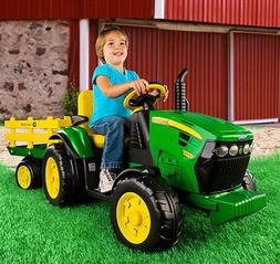 Kids Battery Tractor Ride John Deere Trailer Toy Electric Po