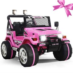 Kids Girls Pink Electric Car Ride On Truck 3 Speeds Remote L