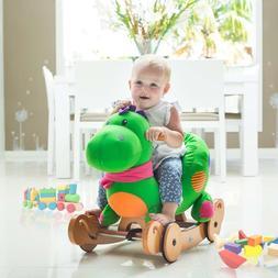 Kids Green Dinosaur Rocking Horse Toys Baby Ride On Plush St