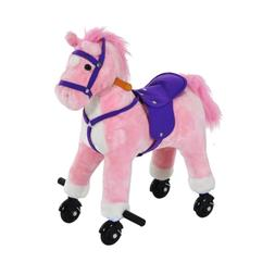 Qaba Kids Interactive Plush Mechanical Walking Ride On Horse