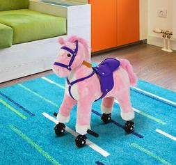 Qaba Kids Plush Ride on Horse Riding Walking Pony Child Toy