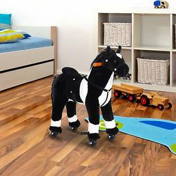 Qaba Kids Plush Ride On Toy Walking Horse with Wheels and Re
