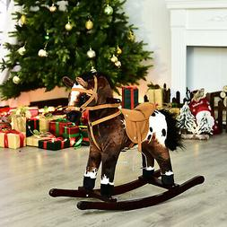 Qaba Kids Plush Rocking Toy Ride-on Horse Pony Rocker Gift N