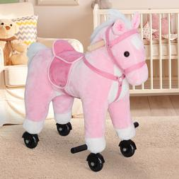 Kids Plush Toy Ride on Walking Horse Rolling Pony with 4 Whe