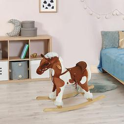 Kids Ride On Rocking Horse Toy Plush Wood Pony Traditional G