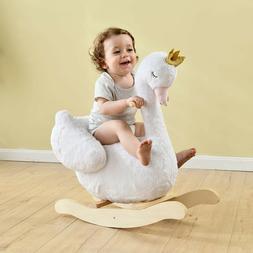 Kids Ride On Rocking Horse Toy Plush White Swan Animal Rocke