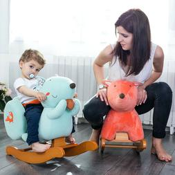 Kids Ride On Rocking Horse Toys Plush Orange Fox Animal Seat