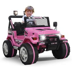 Kids Ride on Toys 12v Electric Cars Battery Wheels Jeep Pink
