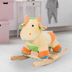 Kids Rocking Horse Ride on Toy Cow Plush Animal Rocker w/ Re