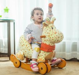 Kids Rocking Horse Toys Baby Ride On Plush Giraffe Stuffed A