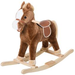 Kids Rocking Plush Horse Ride on Toy Animal Rocker w/ Realis