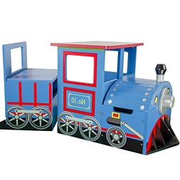 Teamson Kids - Little Kids Blue Train Writing Desk on Wheels