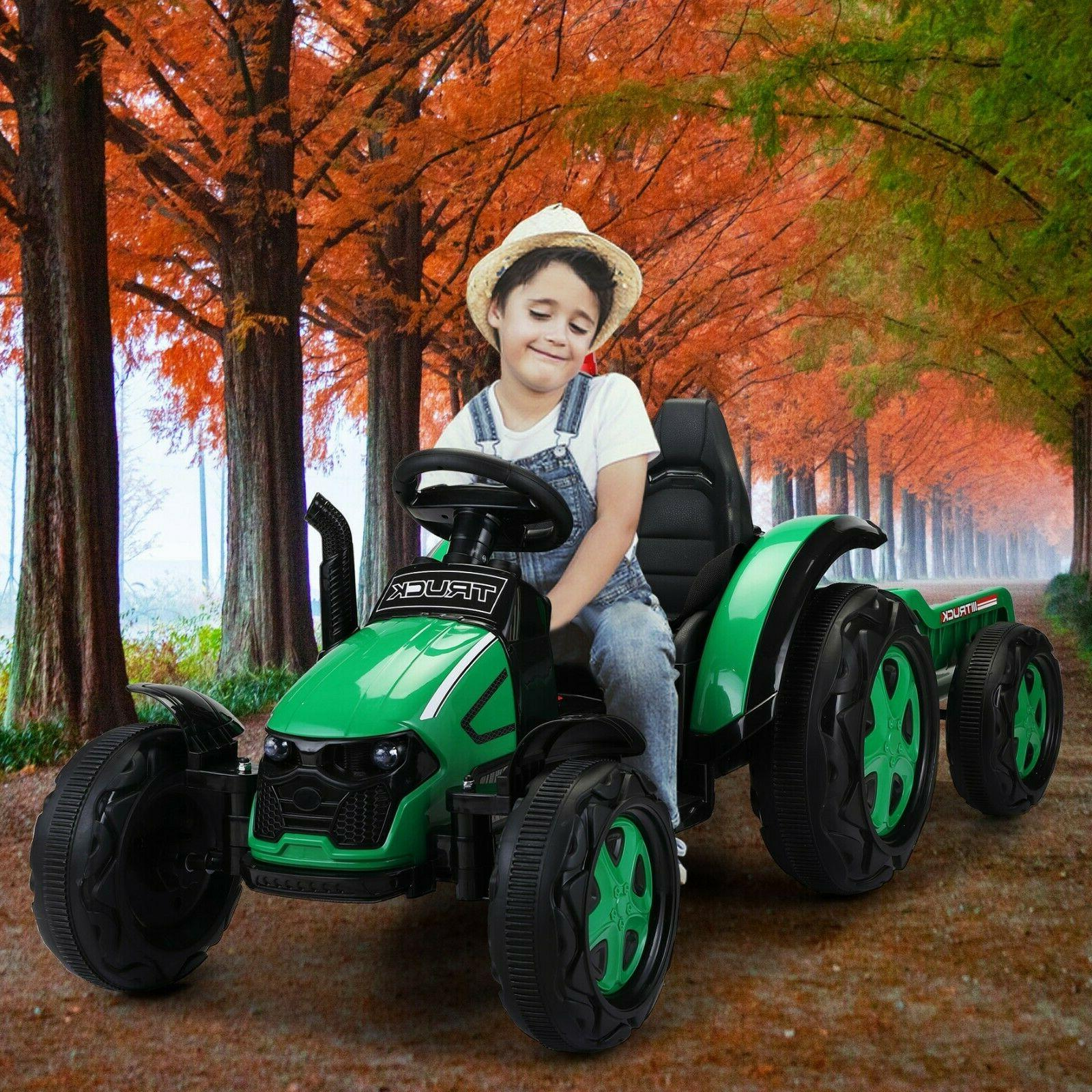 12v battery powered toy tractor with trailer
